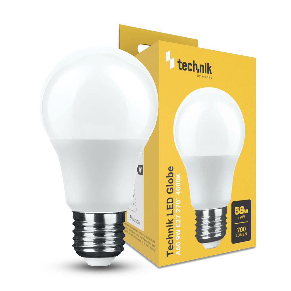 Technik LED Izzó Globe A60 9W E27 270° 4000K (700 lumen)