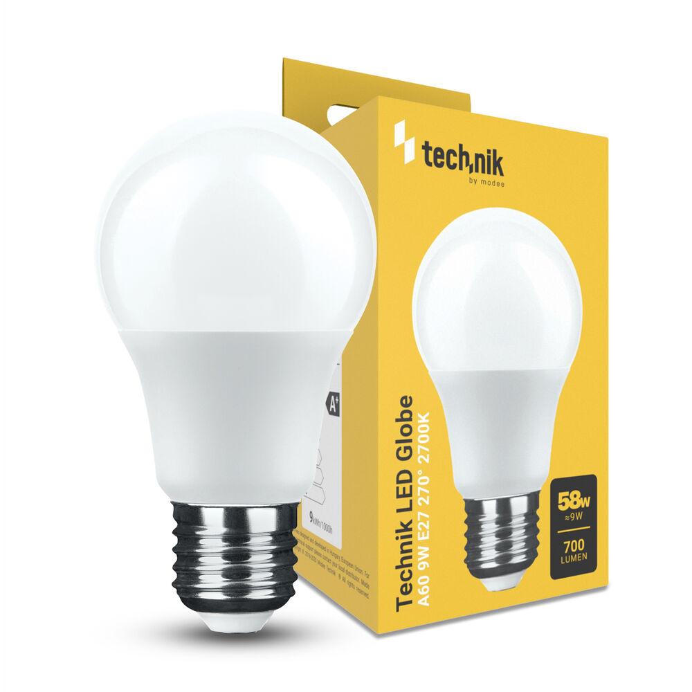 Technik LED Izzó Globe A60 9W E27 270° 2700K (700 lumen)