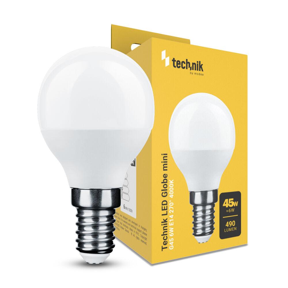 Technik LED Izzó Globe Mini G45 6W E14 270° 4000K (490 lumen)
