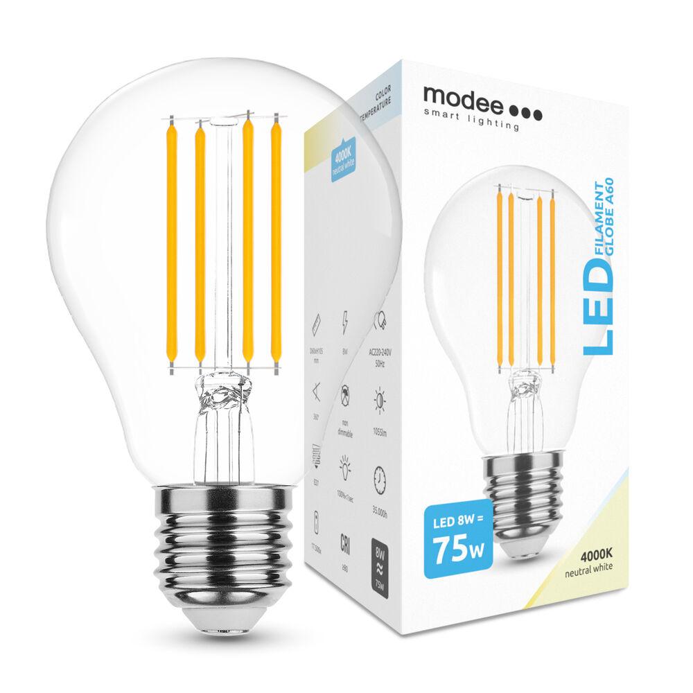 Modee LED Izzó Filament A60 8W E27 360° 4000K (1055 lumen)