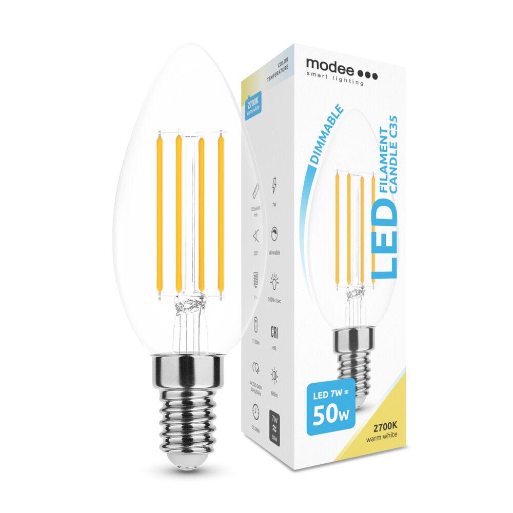 Modee LED Izzó Filament Gyertya (Candle) C35 7W E14 360° 2700K (806 lumen) dimm.