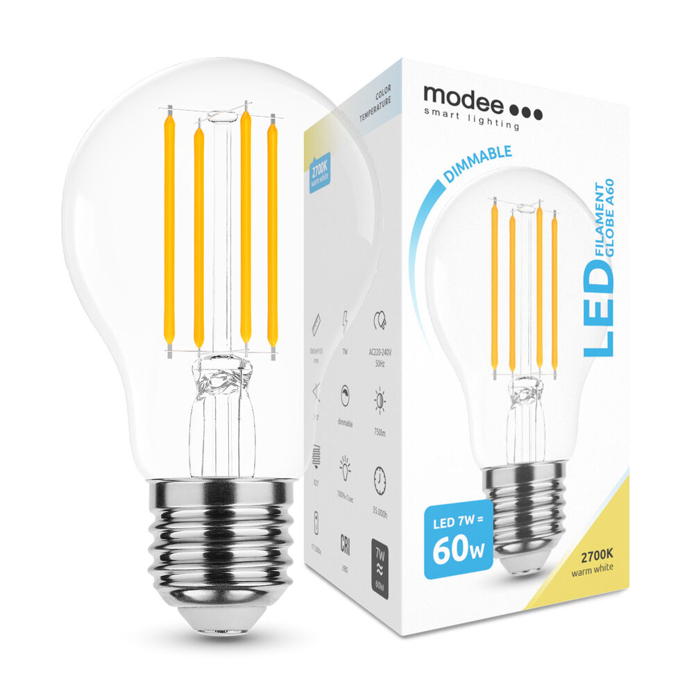 Modee Lighting LED Izzó Filament A60 7W E27 360° 2700K (750 lumen) dimm.