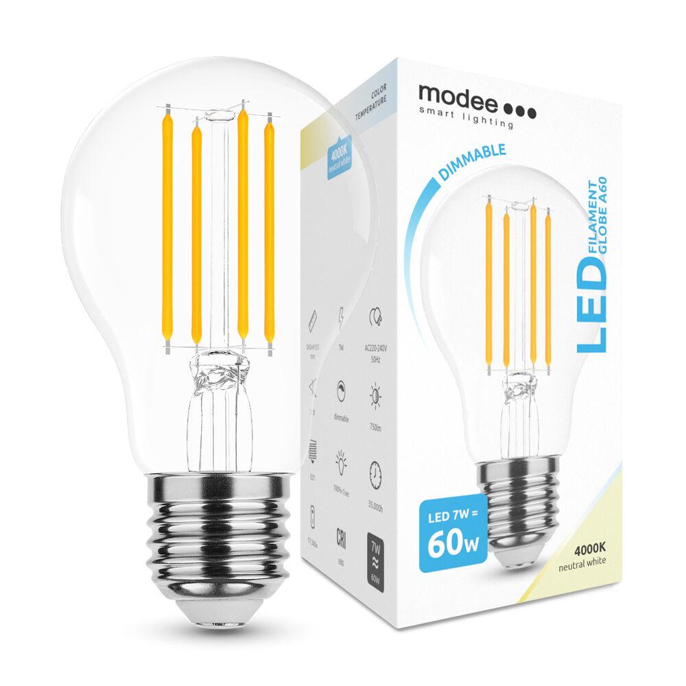 Modee Lighting LED Izzó Filament A60 7W E27 360° 4000K (750 lumen) dimm.