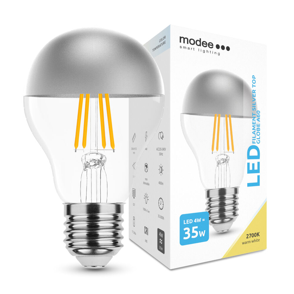 Modee Lighting LED Izzó Filament A60 Silver Top 4W E27 320° 2700K