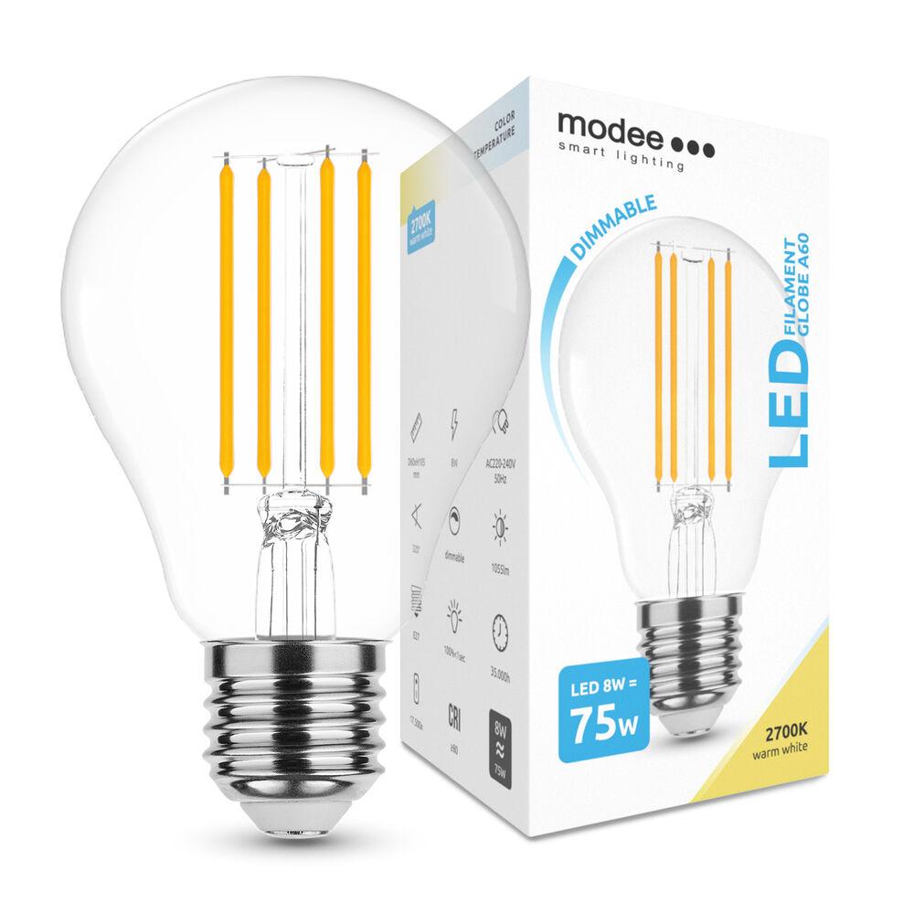Modee Lighting LED Izzó Filament A60 8W E27 360° 2700K (1055 lumen) dimm.