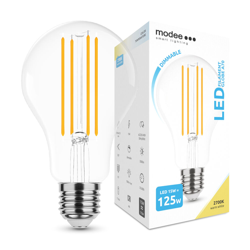 Modee Lighting LED Izzó Filament A70 15W E27 360° 2700K (2000 lumen) dimm.