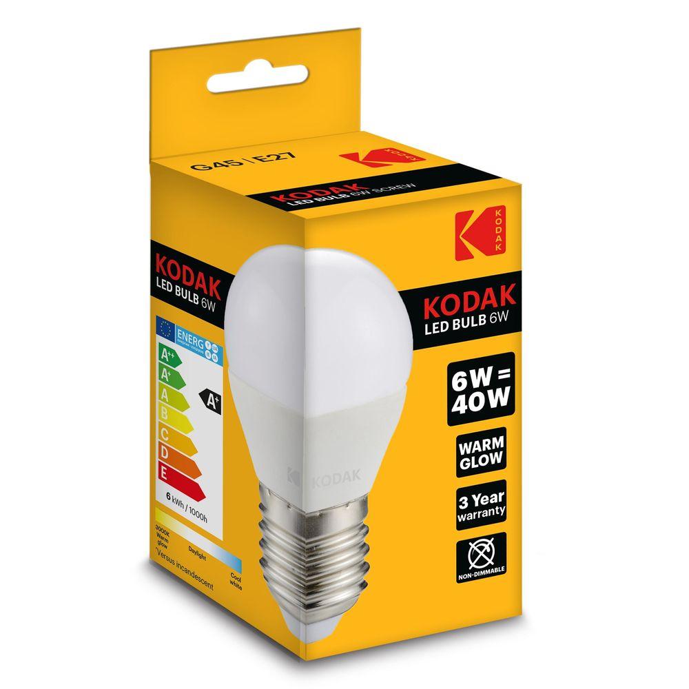 Kodak LED Izzó Globe Mini G45 6W E27 180° 2700K (480 lumen)