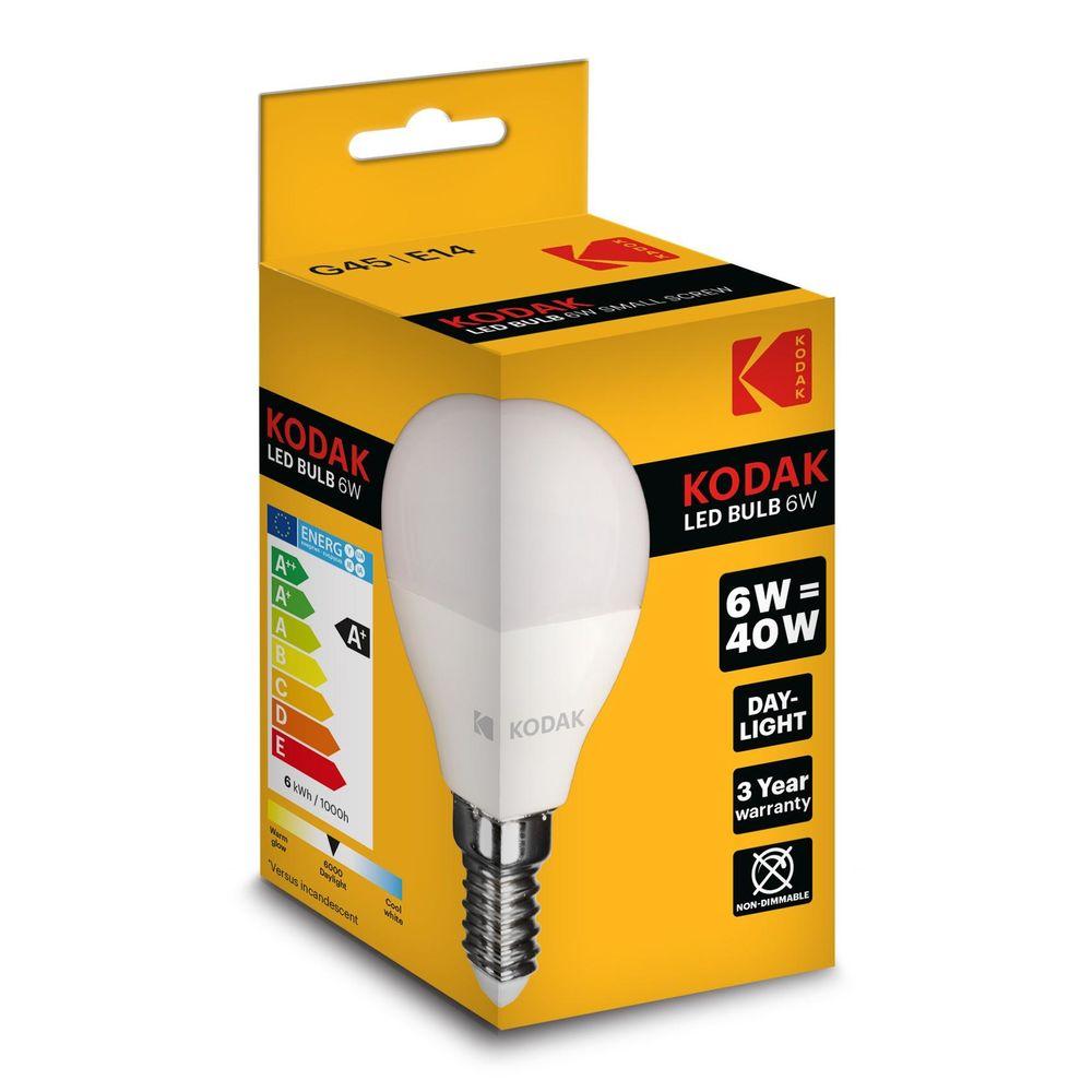 Kodak LED Izzó Globe Mini G45 6W E14 180° 6000K (480 lumen)