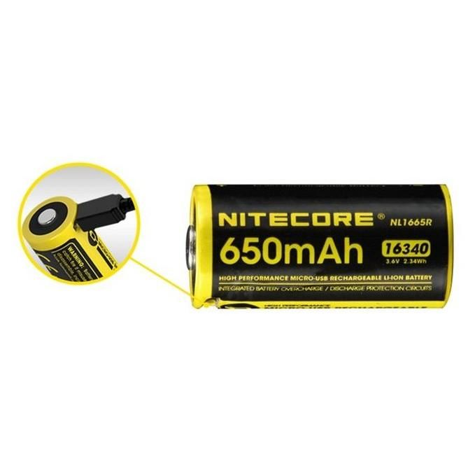 Nitecore Kellék Akkumulátor 16340 RCR123 NL1665R USB-s 650mAh