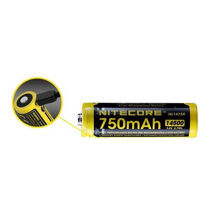 Nitecore Kellék Akkumulátor 14500 NL1475R 750mAh USB-s