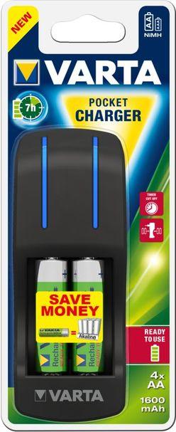 VARTA Akkutöltő Pocket + 4 x 1600mAh AA 420min